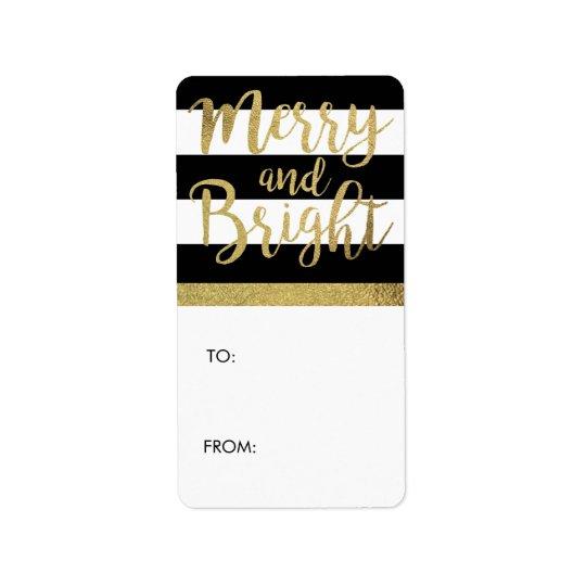 "Black & White Stripe ""Merry & Bright"" Xmas Gift Address Label"