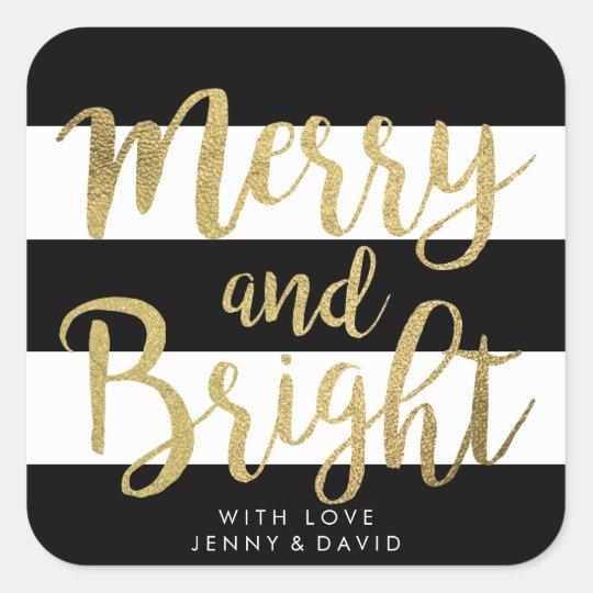 """Black & White Stripe """"Merry & Bright"""" Xmas"""