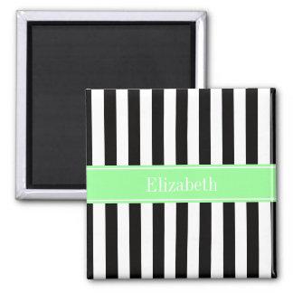 Black White Stripe Mint Ribbon Name Monogram Magnet