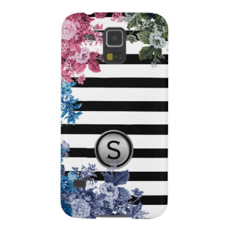 Black White Stripe Multi Colour Floral Monogram Galaxy S5 Covers