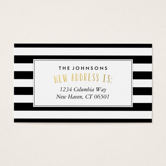 Black White Stripe New Home Address Business Card