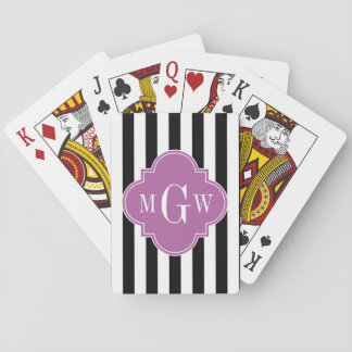 Black White Stripe Orchid Quatrefoil 3 Monogram Playing Cards