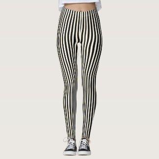 Black & White Stripe Pattern Leggings