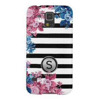 Black White Stripe Pink Blue Floral Monogram Galaxy S5 Covers