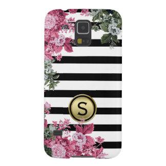 Black White Stripe Pink Green Floral Monogram Galaxy S5 Cover