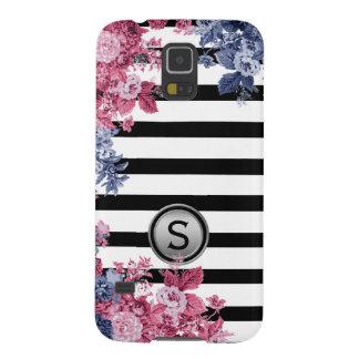 Black White Stripe Pink Indigo Floral Monogram Case For Galaxy S5