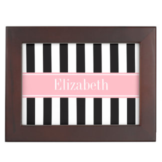 Black White Stripe Pink Name Monogram Memory Box