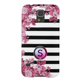 Black White Stripe Pink Rose Floral Motif Monogram Case For Galaxy S5