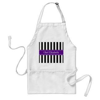 Black White Stripe Purple Ribbon Name Monogram Adult Apron