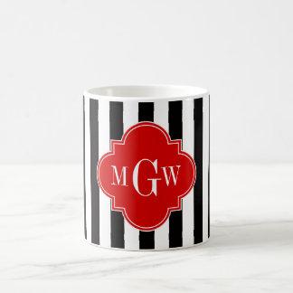 Black White Stripe Red Quatrefoil 3 Monogram Basic White Mug