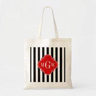 Black White Stripe Red Quatrefoil 3 Monogram Budget Tote Bag