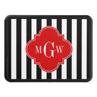 Black White Stripe Red Quatrefoil 3 Monogram Hitch Covers