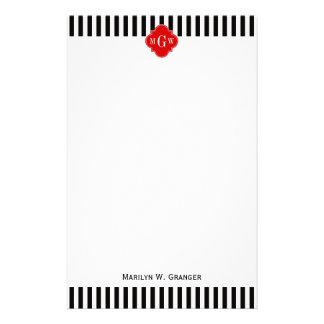 Black White Stripe Red Quatrefoil 3 Monogram Stationery