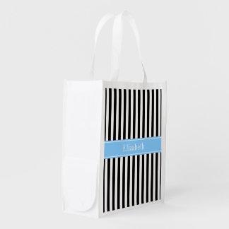 Black White Stripe Sky Blue Name Monogram Reusable Grocery Bag