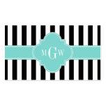 Black White Stripe Turquoise Quatrefoil 3 Monogram
