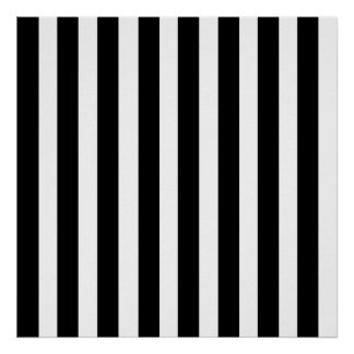 Black White Stripe Vertical Straight Lines Pattern Poster