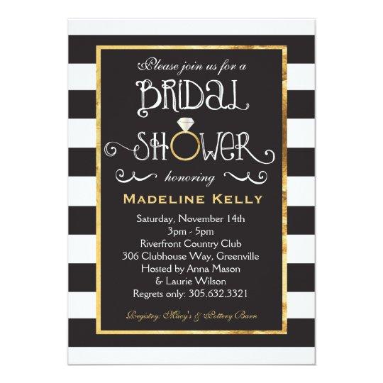 Black White Stripe Wedding Ring Shower Invitation