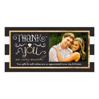 Black White Stripe Wedding Ring Thank You Card Personalized Photo Card