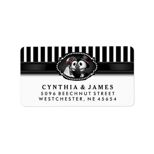 Black White Stripe Wedding Skeletons Address Label