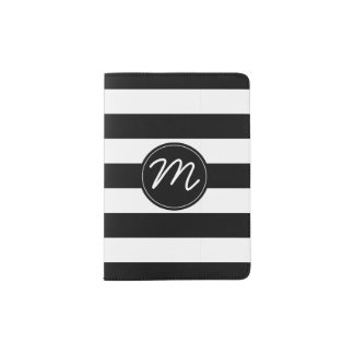 Black & White Stripe with Black Monogram Passport Holder