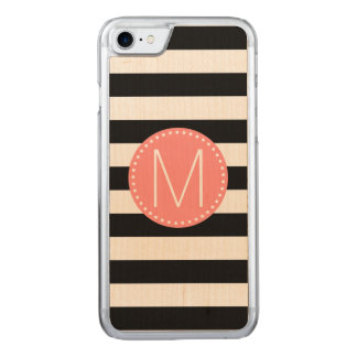 Black & White Stripe with Coral Monogram Carved iPhone 8/7 Case