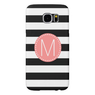 Black & White Stripe with Coral Monogram Samsung Galaxy S6 Cases