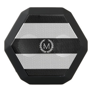 Black & White Stripe with Laurel Wreath Monogram Black Bluetooth Speaker