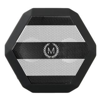 Black & White Stripe with Laurel Wreath Monogram Black Boombot Rex Bluetooth Speaker