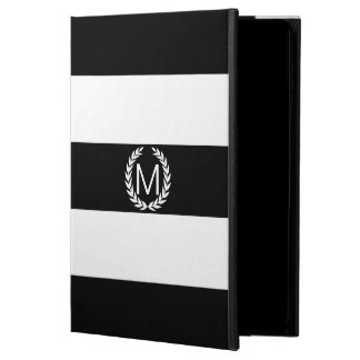 Black & White Stripe with Laurel Wreath Monogram Powis iPad Air 2 Case