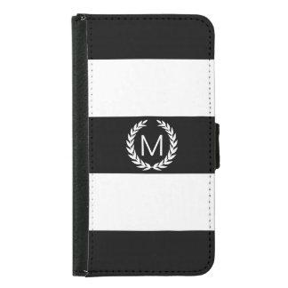 Black & White Stripe with Laurel Wreath Monogram Samsung Galaxy S5 Wallet Case