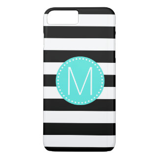 Black & White Stripe with Turquoise Monogram iPhone 8 Plus/7 Plus Case
