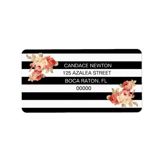 Black & White Stripe With Vintage Roses Label