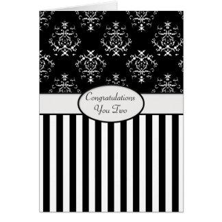 Black & White Striped Baroque Congrats Card