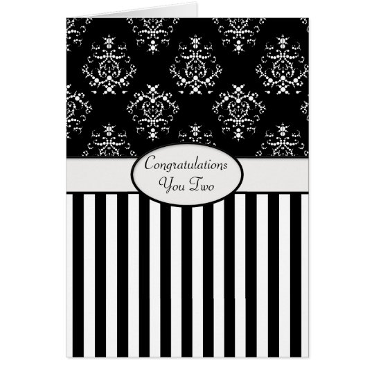 Black & White Striped Baroque Congrats Card