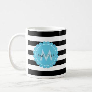 Black, White, striped  Blue flower monogram name. Coffee Mug