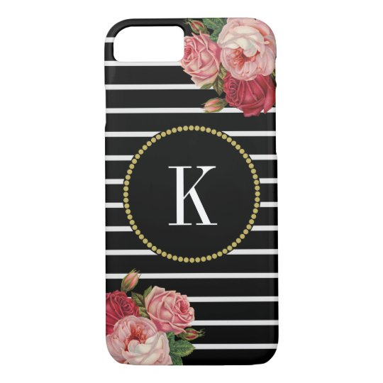 Black White Striped Bold Floral Gold Monogram iPhone 8/7 Case