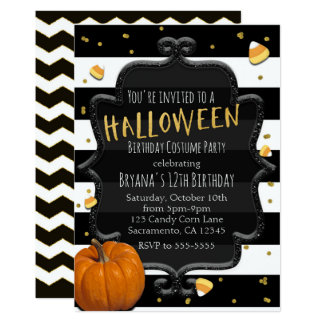 Black & White Striped Candy Corn Halloween Party Card
