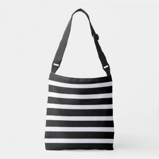BLACK & WHITE STRIPED CROSS BODY BAG
