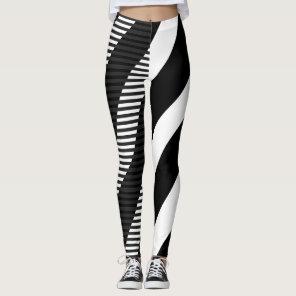 Black & White Striped Design Leggings