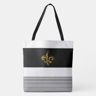 BLACK & WHITE STRIPED FLEUR DE LIS DESIGN TOTE BAG