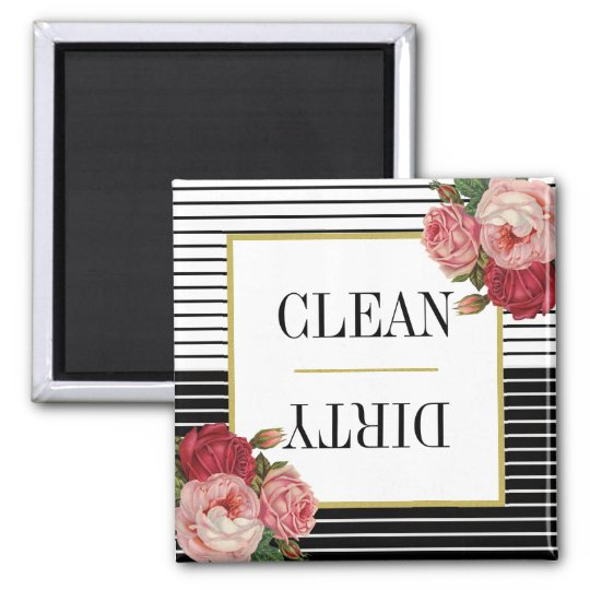 Black White Striped Floral Clean Dirty Dishwasher Magnet
