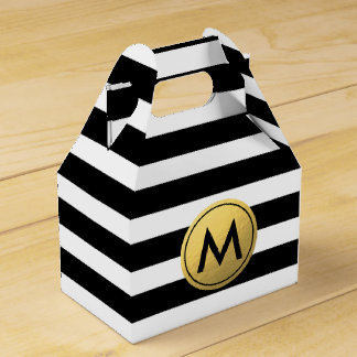 Black & White Striped Gold Foil Party Favor Boxes