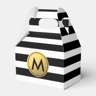 Black & White Striped Gold Foil Party Favor Boxes Favour Box