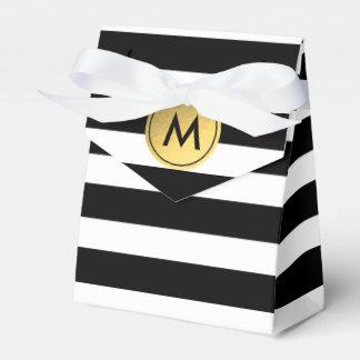 Black & White Striped Gold Foil Party Favor Boxes Party Favour Boxes