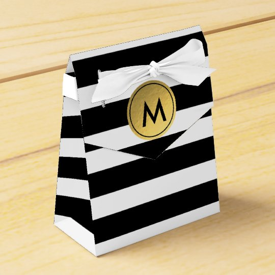 Black & White Striped Gold Foil Party Favour