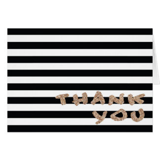 Black & White Striped Gold Glitter Thank You Card