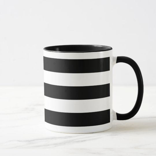 Black & White Striped Ringer Coffee Mug