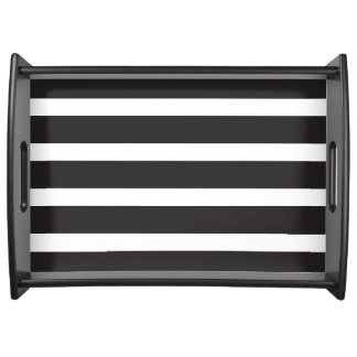Black & White Striped Serving Tray