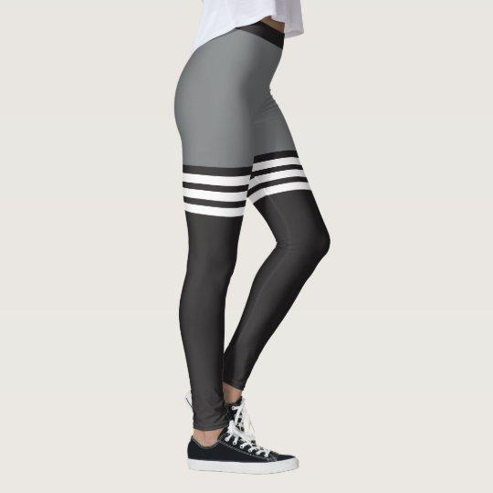 Black & White Striped Sports Leggings