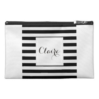 Black & White Striped Travel Accessories Bag